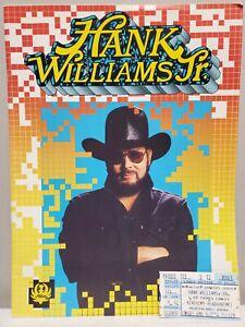Hank Williams Jr. 1990 Tour Program Book w/ Ticket Stub RARE VINTAGE!