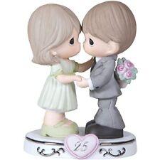 ☆ New PRECIOUS MOMENTS Figurine 25th ANNIVERSARY Porcelain Statue WEDDING COUPLE