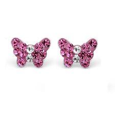 925 Sterling Silver Crystal Pretty Pink Butterfly Stud Earrings Girls Kids Gift