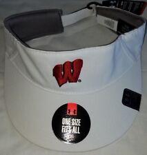 san francisco eace8 b4b42  1231 Under Armour Sun Visor Wisconsin Badgers Men White Adjustable Hat-NWT