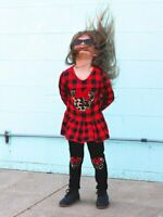 Toddler, Girls Buffalo Plaid Cheetah Minnie Mouse Ruffle Outfit 2T 3T 4T 5 6 7 8
