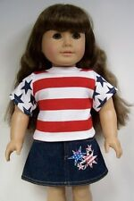 "RED BLUE Star FLAG Jean Skirt & Shirt Doll Clothes For 18"" American Girl (Debs)"