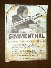 Pubblicità dei primi del '900 Carne in scatola Simmenthal - Soc.An. Alfonso Sada