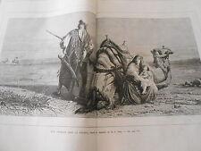 Gravure 1872 - Une attaque dans le désert d'après Haag