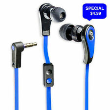 Premium Sound In-Ear Headphones w/ Hands Free Mic Blue Flat Cable - IP-F112B