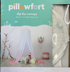 """Pillowfort Dip Dye Bed Play Area Canopy Pink White 100"""" x 180"""" Ceiling Mount"""