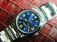 ALPHA STAINLESS STEEL EXPLORER IRON BLUE DIAL WITH MIYITO JAPAN AUTOMATIC WATCH