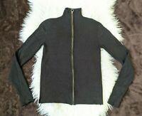 Zara Knit Womens sz Small Sweater Black Gold Full Zip Knitted High Neck Top