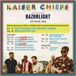 "KAISER CHIEFS/RAZORLIGHT ""UK TOUR 2020"" CONCERT POSTER-Indie Rock,New Wave Music"