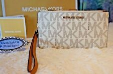 NWT MICHAEL KORS Jet Set Travel MK Sig DBL-Zip Wristlet/Wallet VANILLA PVC $138