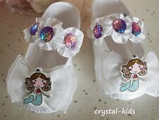 Vestido de Fiesta bebé niñas blanco satinado Sirena Ocasión Pram Zapatos 3 - 6 meses