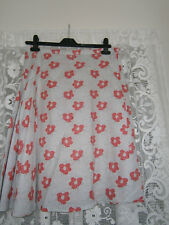 FRENCH CONNECTION SKIRT, SUMMER, LINEN, POPPY PATTERN, GREY/RED,SIZE 12.