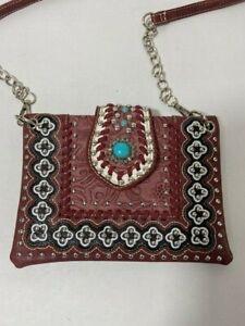 Western Turquoise Stone Decorative Style Crossbody Purse Chain Strap Dark Red VG