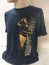 "Harley-Davidson Men's S/S Indigo Blue ""Salute"" pin up model L shirt"