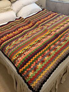 HANDMADE Crochet AFGHAN Knit THROW Quilt LAP PRIMITIVE BLANKET 48x76