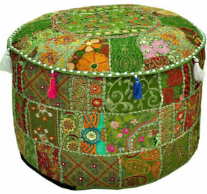 Indian Handmade Vintage Round Ethnic Embroidery Patchwork Footstool Pouffe Cover