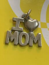 GORGEOUS JAMES AVERY RETIRED STERLING SILVER I LOVE MOM CHARM  PENDANT