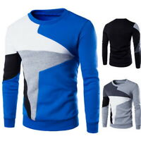 Mens Patchwork Knitwear Jumper Pullover  Man Sweater Tops O-neck Sweater