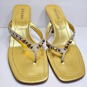 Prada | Vintage Gold Studded Thong Heeled Sandals Made in Italy