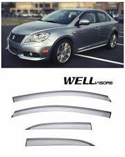 For 10-14 Suzuki Kizashi WellVisors Side Window Visors with Black Trim