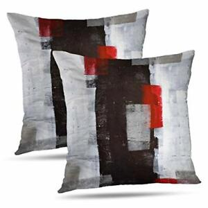 Alricc Red and Grey Abstract Art Pillow Cover Modern Black White Wall Decorat...