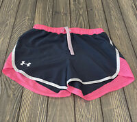 Under Armour Girls Gray Pink White Athletic Shorts No Size