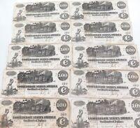 .SUPER RARE. 1862 T-40 10 CONSECUTIVE RUNNING USA CONFEDERATE $100 NOTES.