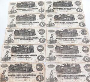 .SUPER RARE. 1862 T-39 10 CONSECUTIVE RUNNING USA CONFEDERATE $100 NOTES.