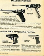 1976 Print Ad of Mauser Parabellum Model P-08 & HSc Automatic Pistol