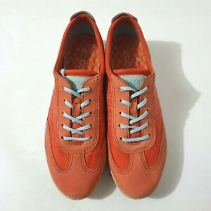 Ecco Shoes Sz 39 Orange Leather Walking Sneakers Comfort Lace Up Casual Womens