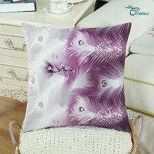 Cushion Covers Pillows Shells Case Fantasy Peacock Feathers Print Sofa 45 X 45cm Purple