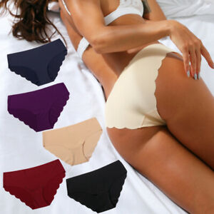 3 Pack Women's Seamless Invisible Briefs Hipster Underwear Panties Soft Knickers