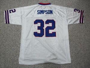 O.J. SIMPSON Unsigned Custom Buffalo White Sewn New Football Jersey Sizes S-3XL