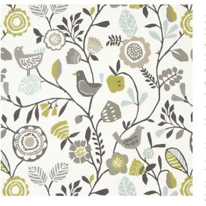 ROMAN BLIND BLACKOUT CLARKE & CLARKE FOLKI FLOWERS BIRDS GREEN GREY WHITE
