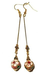 Very Long Gold Pink Earrings Drop Dangle Chinese Cloisonne Beads Vintage Chic