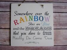 Handmade Wall Plaque Inspirational Song Lyric Quote Over The Rainbow Gift