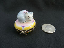 Chamart Exclusive Limoges France Sleeping Cat Hinged Trinket Box