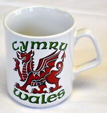 WALES / CYMRU / RED DRAGON design WHITE MUG with dragon motif , Cymru, Welsh