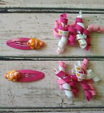 Gymboree Floral Reef orange clown fish hair clips & pink floral curly barrettes