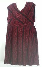 NY Collection Red & Black Dress 3X 26 28 Plus Size Sleeveless Dress Party