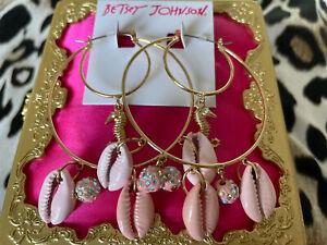 Betsey Johnson Surfmaid HUGE Pink Shell Fireball Gold Seahorse Hoop Earrings
