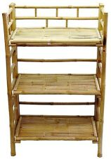 Bamboo Tiki 3-Tier Rack Patio Deck or Indoor Bookcase Folding Shelf