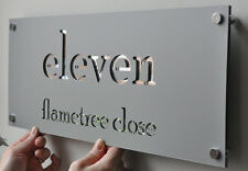 CUSTOM HOUSE NUMBER SIGN PLAQUE LASER CUT MAILBOX STAINLESS STEEL 300mm x 120mm
