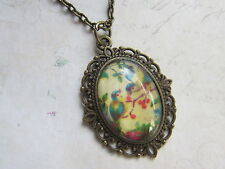 Vintage Style Bronze Plated Blue Tits Birds Cameo Necklace New in Gift Bag