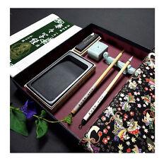 Japanese Calligraphy  SHAKYO SET  W/Yuzen Box Fude Suzuri Fudeoki Sumi paper