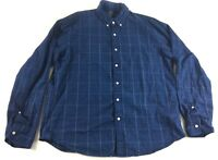 J Crew Mens Indigo Blue Plaid Long Sleeve Button Front Shirt Size XL