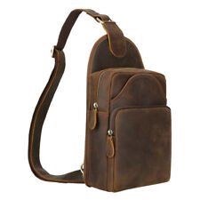 Real Leather Sling Bag For Men Shoulder Sports Chest Pouch Pack Cross Body Bag