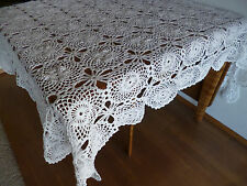 "Vintage Hand Crocheted Lace Table Cloth  Medallions & Stars 54"" x 70"""