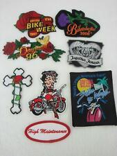 NEW Lot 8 Biker Daytona Bike Week Biketoberfest Patches Betty Boop Rose Cross