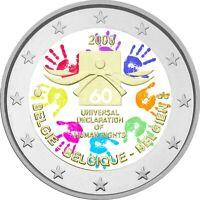 2 Euro Gedenkmünze Belgien 2008 coloriert / mit Farbe Farbmünze Menschenrechte